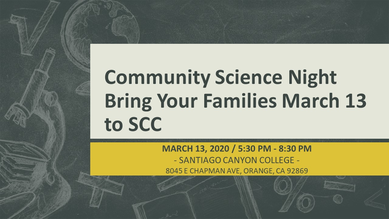 Community Science Night at SCC March 13th