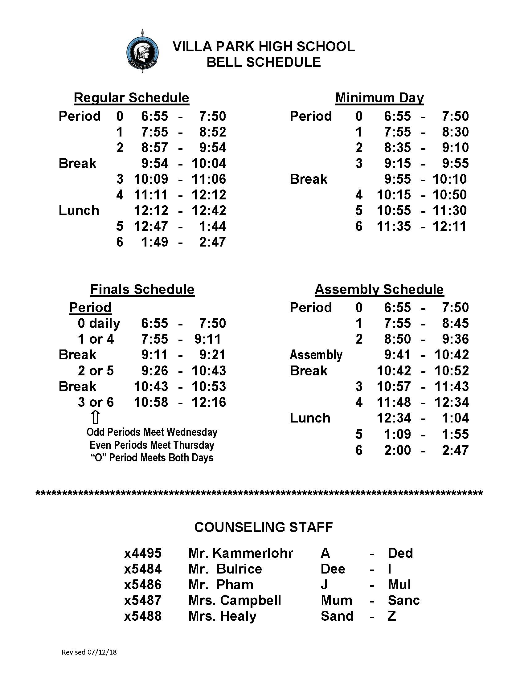 bell schedule villa park high school