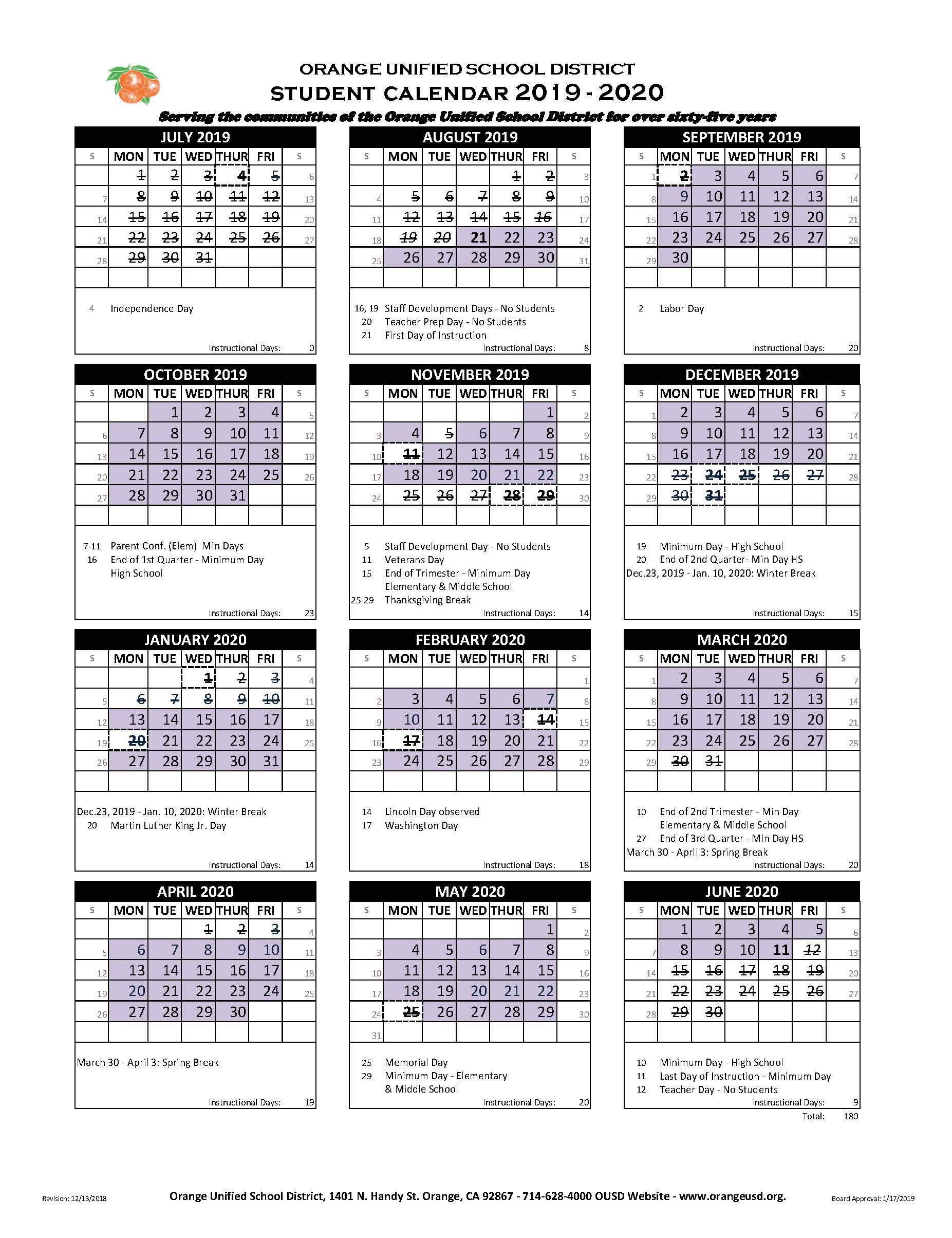 Lincoln High School Graduation 2020.Student Calendar Villa Park High School